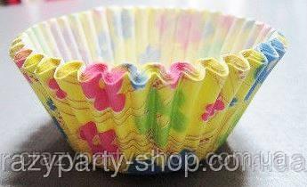Форма бумажная для выпечки с цветочками