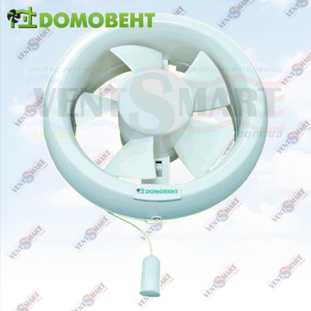 Домовент 150 ОК. Изображение (фото) осевого форточного вентилятора для вытяжной вентиляции (в ванной комнате, санузле, на кухне, в офисе, в гараже, на складе и т. п.) Домовент 150 ОК.