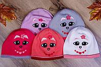 """Демисезонная шапка для девочек """"Котик"""""""