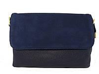 Женская сумочка кросс-боди под замшу (синяя)  №2188