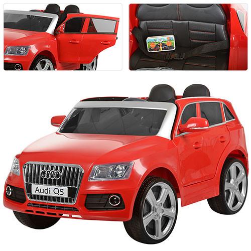 Детский электромобиль Audi Q5 M 3290 EBLR красный, мягкое сиденье, колеса EVA, амортизаторы, двери, пульт