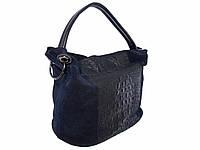 Женская замшевая сумка среднего размера (синяя)  №1572-1