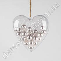 Сердце пластиковое прозрачное, 8 см