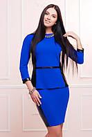 Офисный  синий  женский   костюм    Баска  FashionUp 42-48  размеры