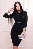 Офисный  черный  женский   костюм    Баска  FashionUp 42-48  размеры