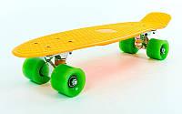 """Пенни борд 22"""" оранжевый с салатовыми колесами, фото 1"""