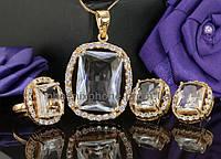 Видный комплект с крупными кристаллами, покрытый слоями золота (630750) кольцо 17 размер