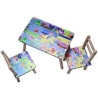 "Столик + 2 стульчика ""ТИПА СВИНКА ПЕПА"" (размер 600*460)"
