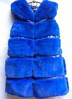 Удлиненная меховая жилетка для девочек от 5 до 9 лет