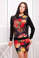 Молодежный   женский черный   костюм с принтом   Roses  FashionUp 42-46  размеры