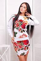Молодежный   женский  белый  костюм с принтом   Roses  FashionUp 42-46  размеры
