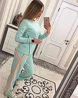 Женский спортивный костюм с змейкой, 2 кармана Бирюзовый, С
