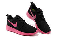 Кроссовки женские Nike (найк) Roshe Run (роше раны) черные с розовой подошвой 2016