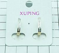 416. Узкие серьги Xuping Jewelry- позолоченная бижутерия с цирконием. Серьги XP