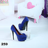 Туфли женские на шпильках замшевые синие 259