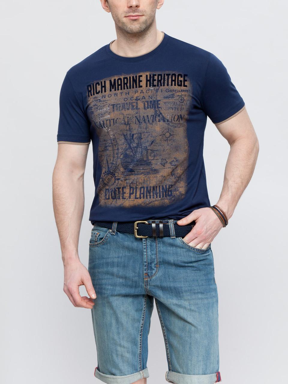 Темно-синяя мужская футболка LC Waikiki с бархатным рисунком RICH MARINE HERITAGE