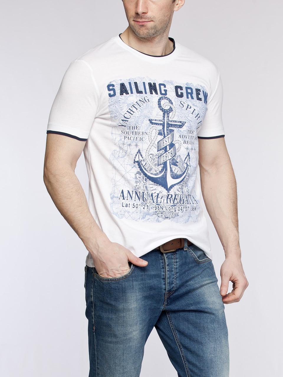 Мужская футболка белая LC Waikiki /ЛС Вайкики с надписью Sailing Crew