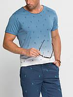 Мужская футболка LC Waikiki голубого цвета с ромбами, фото 1