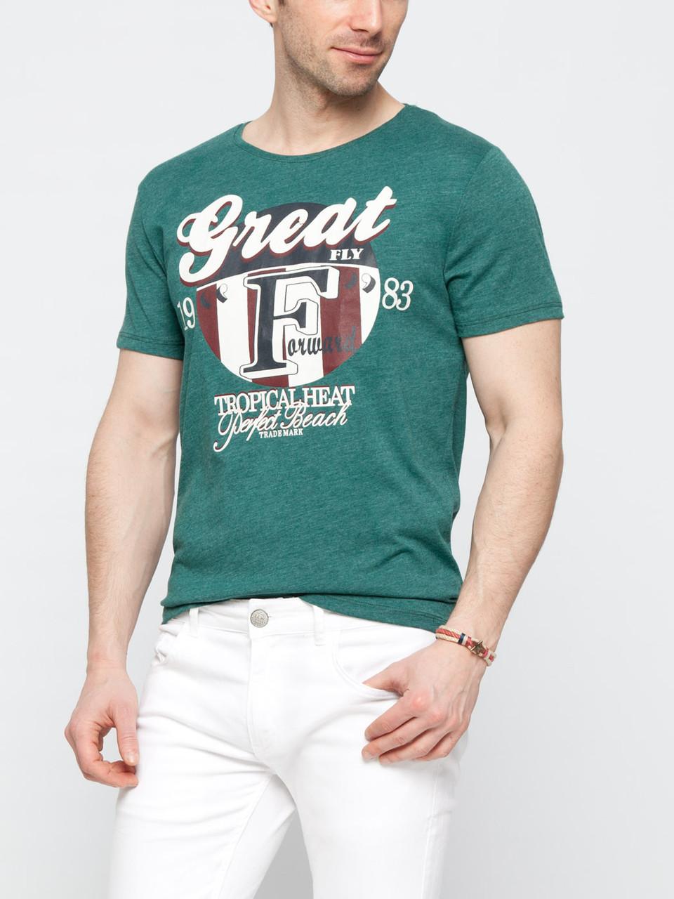 Мужская футболка зеленая LC Waikiki с рисунком на груди