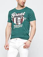 Мужская футболка LC Waikiki насыщенно-зеленого цвета с рисунком и надписью на груди S