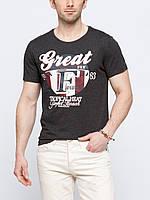 Мужская футболка LC Waikiki графитового цвета с рисунком и надписью на груди