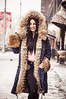 Парка с мехом канадского енота, внутри утеплитель холофайбер, верх материал матовая плащевка, длина 90 см, фото 1