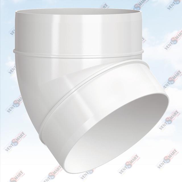 Внешний вид колена (отвода) 45 круглых пластиковых труб для вентиляции ПЛАСТИВЕНТ производства ВЕНТС (Украина). Колено воздуховода для вентиляции Пластивент изготовлены из пластика высокого качества, который не поддерживает горение, имеют гладкую внутреннюю поверхность, широкий диапазон температур эксплуатации ― от -30 до +70 град. Цельсия.
