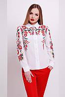 Женская белая блузка с вышивкой