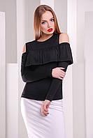 Черная женская кофта с воланом, фото 1