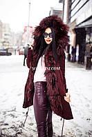 Парка с мехом норвежской чернобурки, цвет плащевки марсала, длина 75см, фото 1