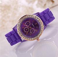 Женские часы силиконовые Geneva Relogio Feminino Purple фиолетовые со стразами