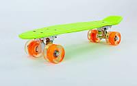 """Пенни борд 22""""  салатовый с оранжевыми светящимися колесами, фото 1"""