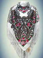 Шерстяной платок Дары востока, белый с розовым