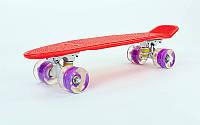 """Пенни борд 22""""  красный с фиолетовыми светящимися колесами, фото 1"""