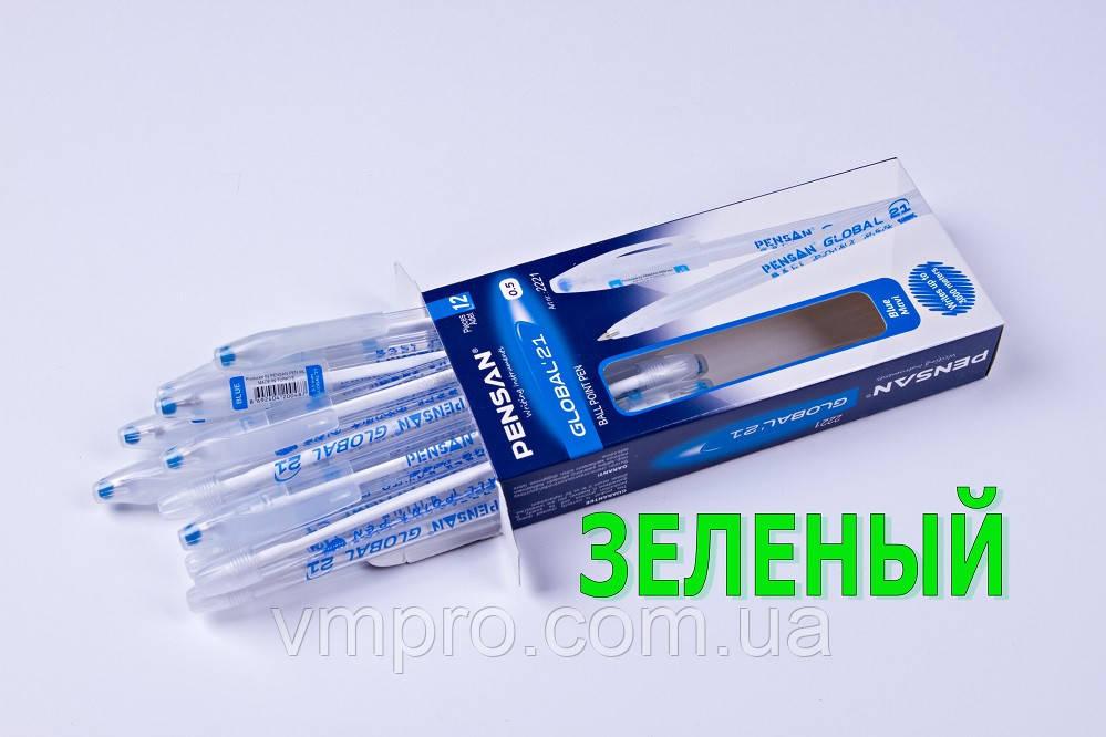 Ручки кулькові Pensan Global-21 №2221,3 km,зелені,0.5 mm,12 шт/упаковка