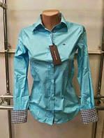 Стильная женская рубашка с длинным рукавом Th 85 бирюзового цвета S
