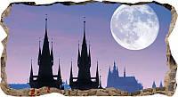 Светящиеся 3D обои Startonight Луна над Прагой