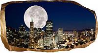 Светящиеся 3D обои Startonight Полная луна над городом, фото 1