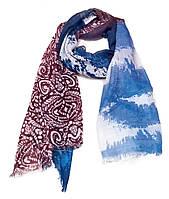 Легкий шарф Сантьяго из вискозы и хлопка, джинс/бордо