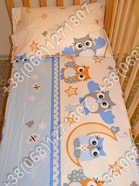 Детское постельное белье в кроватку, постельный комплект (сова голубой)