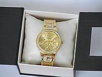 Женские часы Guess, украшенные камнями золотой циферблат, Гес