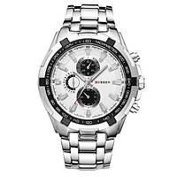 Мужские часы CURREN 8023 Silver & White серебристо-белые