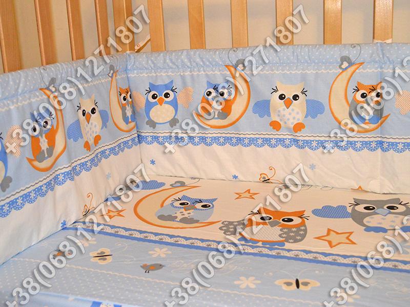 Детское постельное белье и защита (бортик) в детскую кроватку (сова голубой)