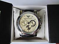 Мужские наручные часы ЕА (Emporio Armani) хромс белым циферблатом, Армани