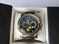 Мужские наручные часы ЕА (Emporio Armani) золотистые с чёрным циферблатом, Армани
