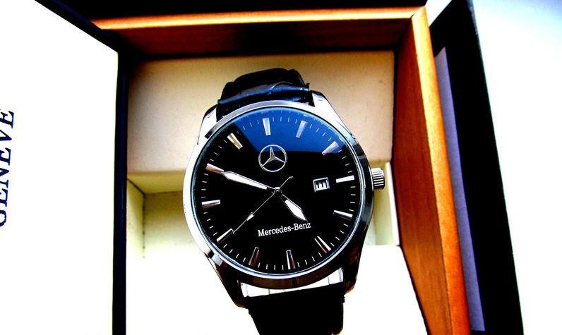 Мужские наручные часы Mercedes (Мерседес), корпус хром с чёрным циферблатом