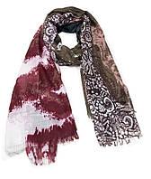 Легкий шарф Сантьяго из вискозы и хлопка, хаки/бордо
