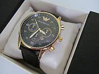 Наручные часы мужские ЕА (Emporio Armani) золотистые с чёрным циферблатом