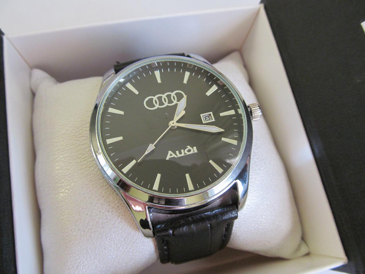 Мужские наручные часы AUDI (АУДИ), хром с чёрным циферблатом