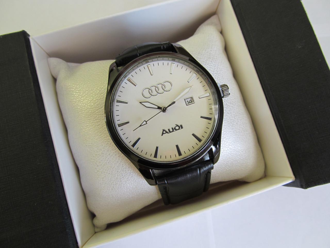 Чоловічі наручні годинники AUDI (АУДІ), чорний корпус з білим циферблатом